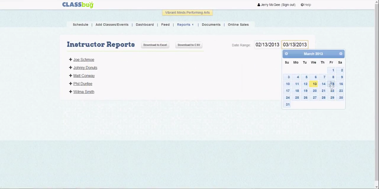 Instructor reports can be viewed per date and instructor selected and then printed or downloaded.
