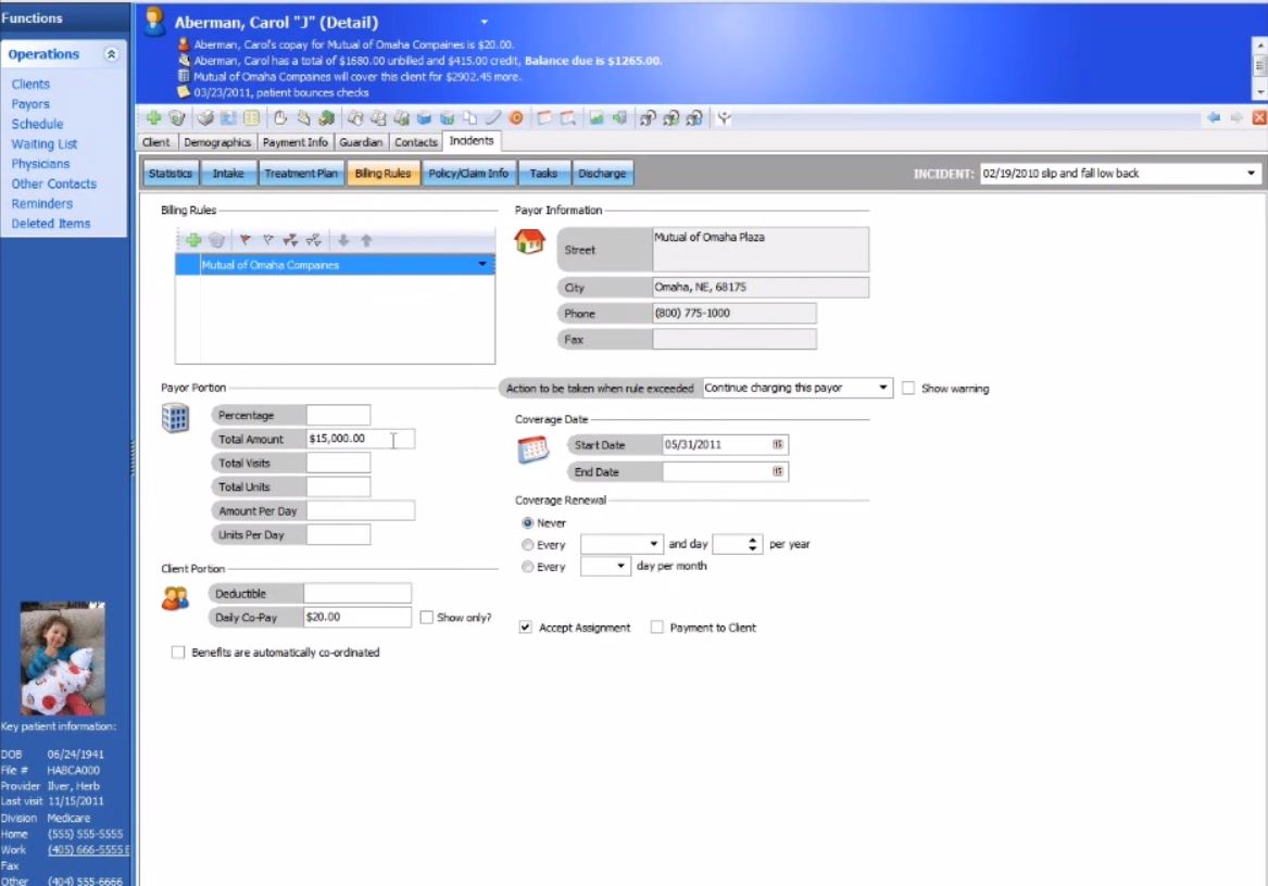 Practice Perfect EMR Software - Billing rules