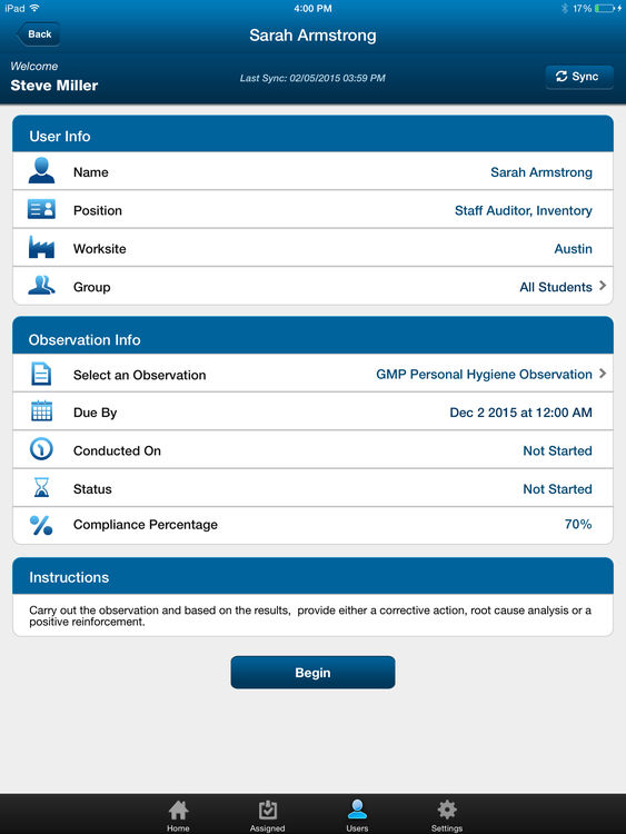Automatically sync all user and observation info to the iPad app
