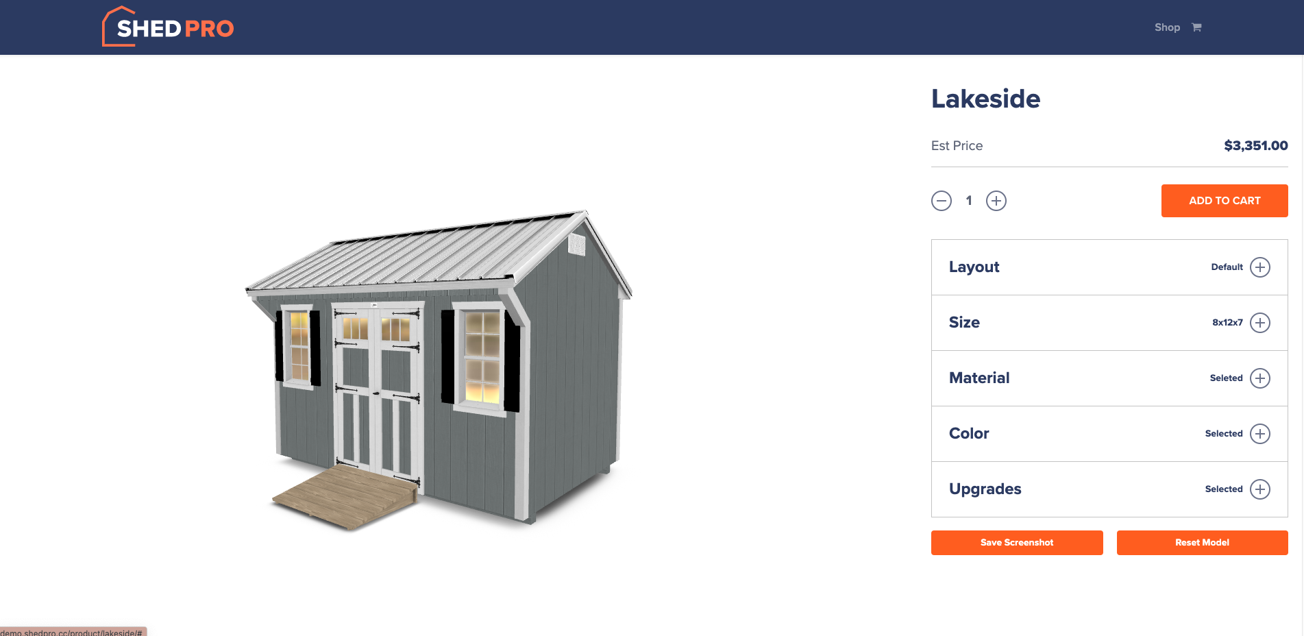 ShedPro shed builder configurator