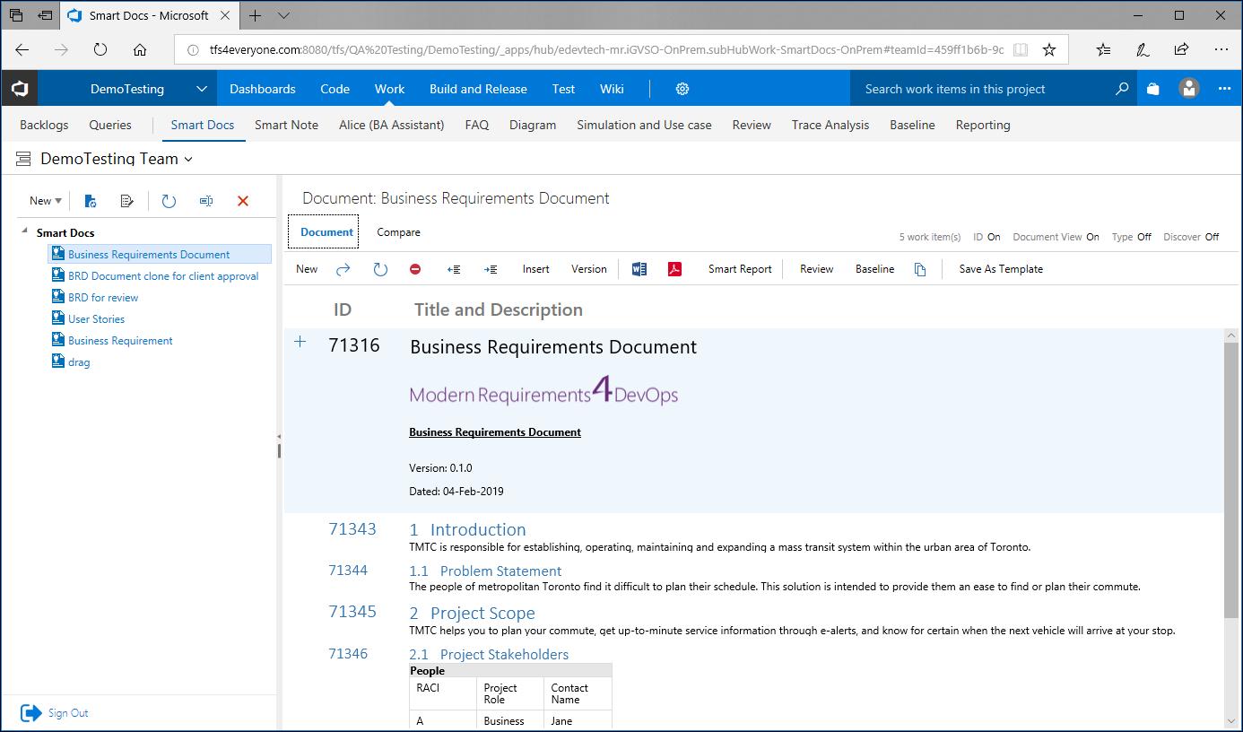 Modern Requirements4DevOps document creation