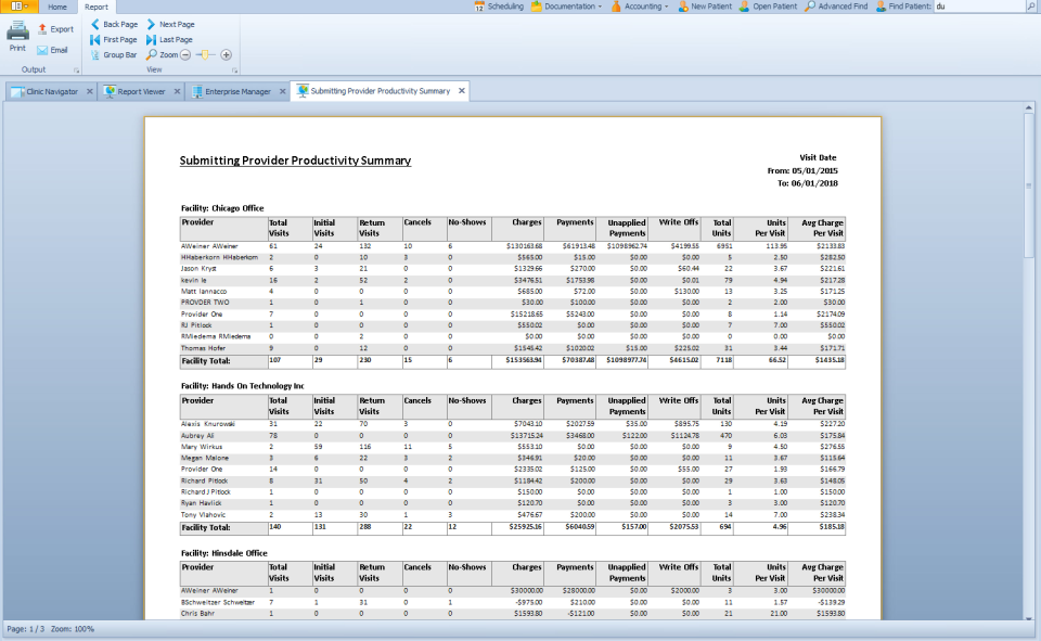 TheraOffice productivity report screenshot