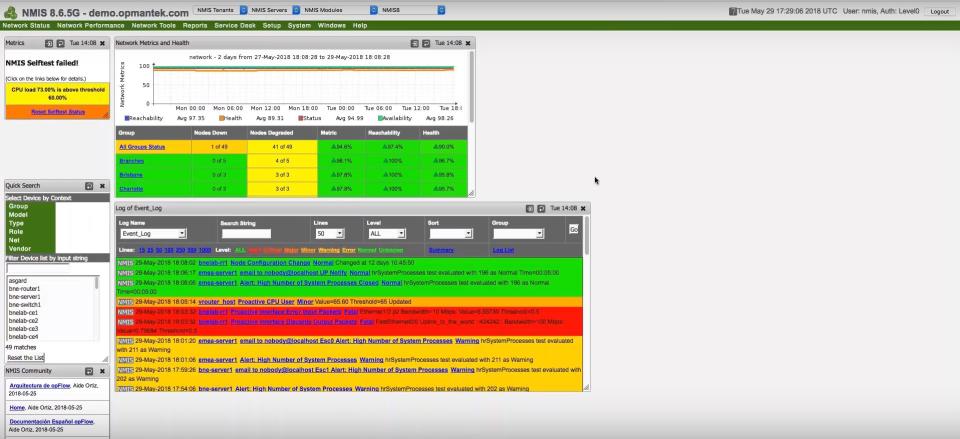 NMIS screenshot: NMIS dashboard
