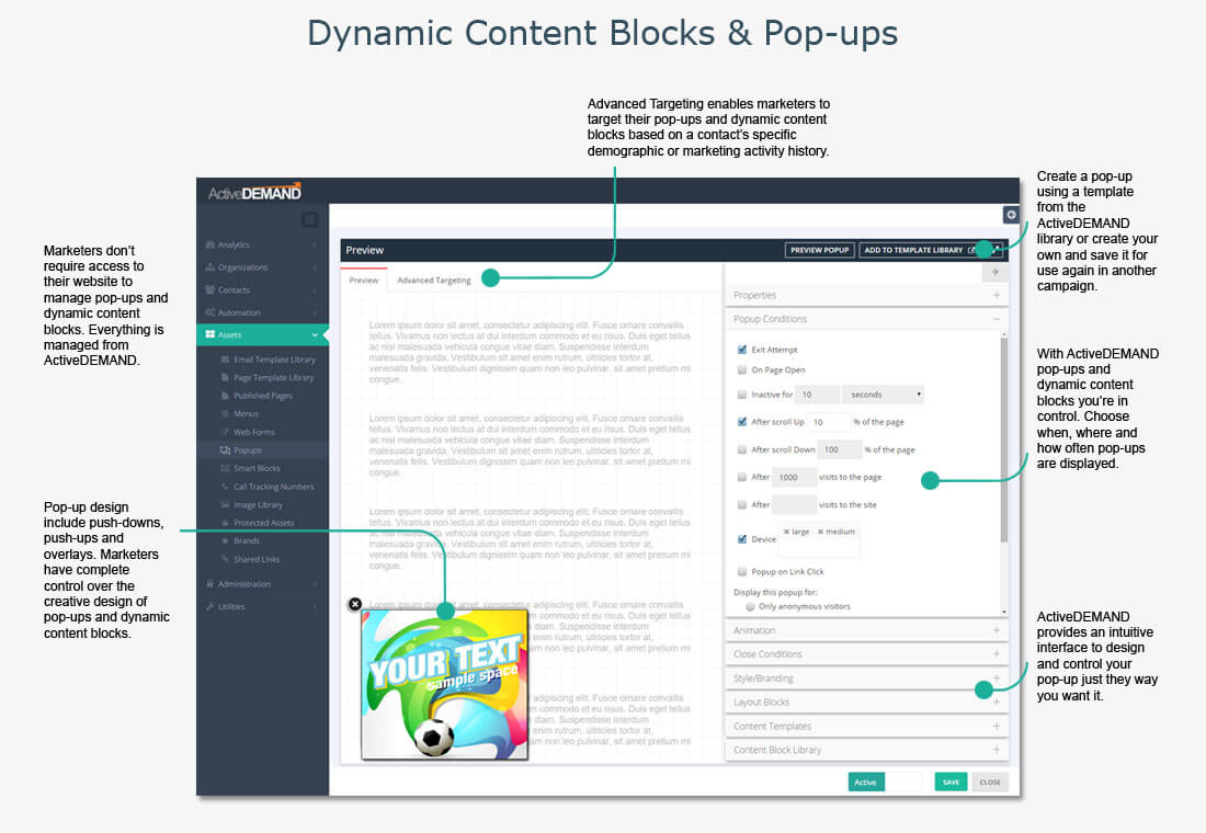 Dynamic Content Blocks and Pop-ups