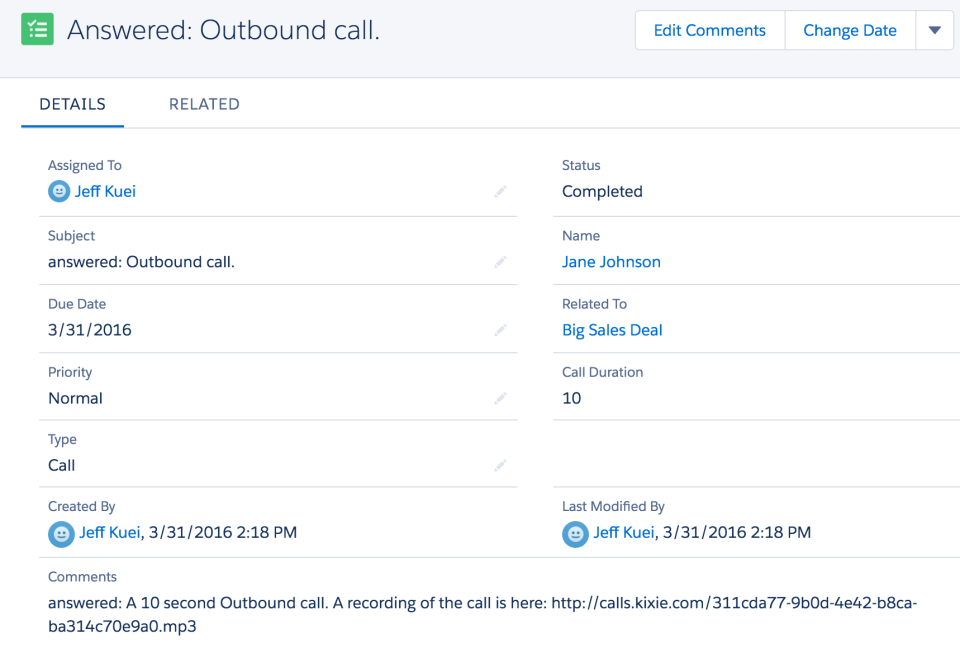 Kixie outbound call
