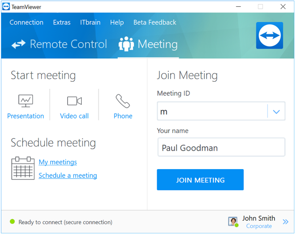 TeamViewer join meeting