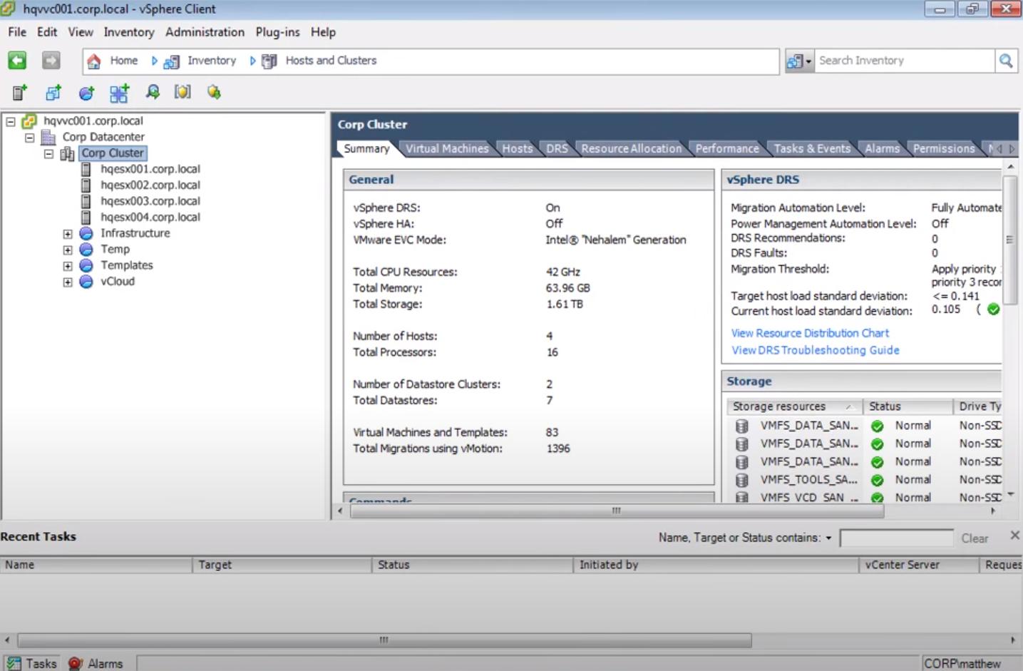 VMware corp cluster
