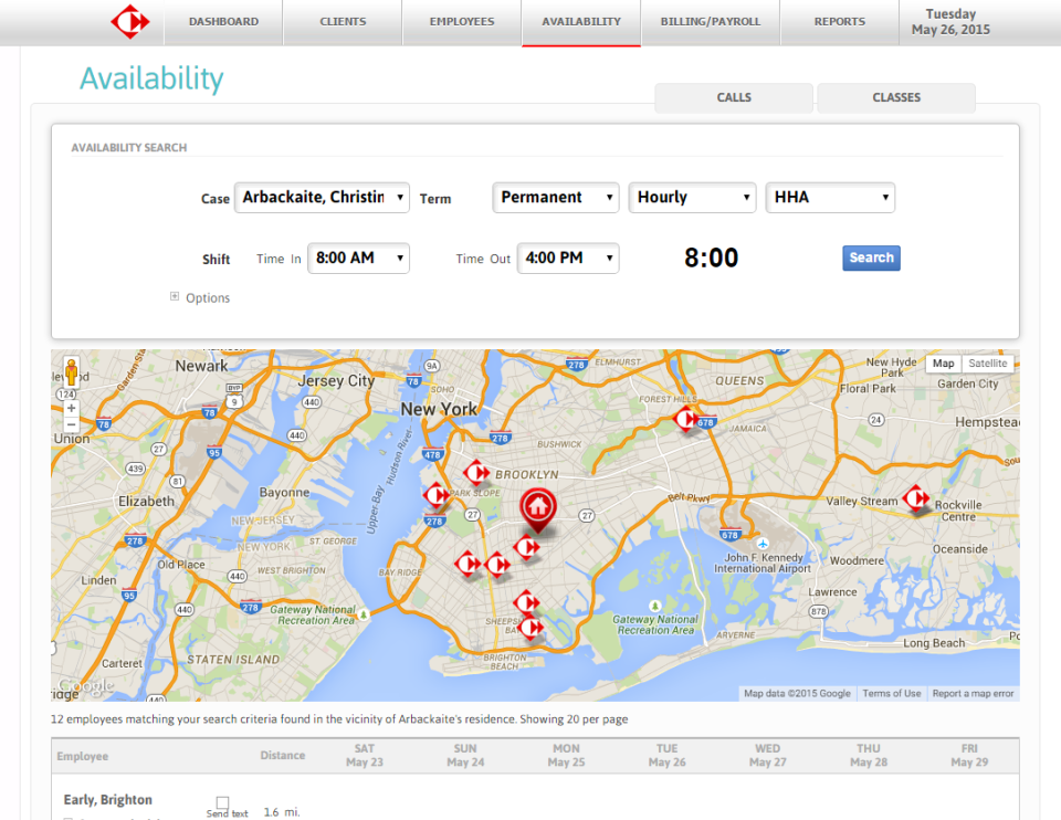 Carecenta allows users to search the availability of employees in the vicinity of a client