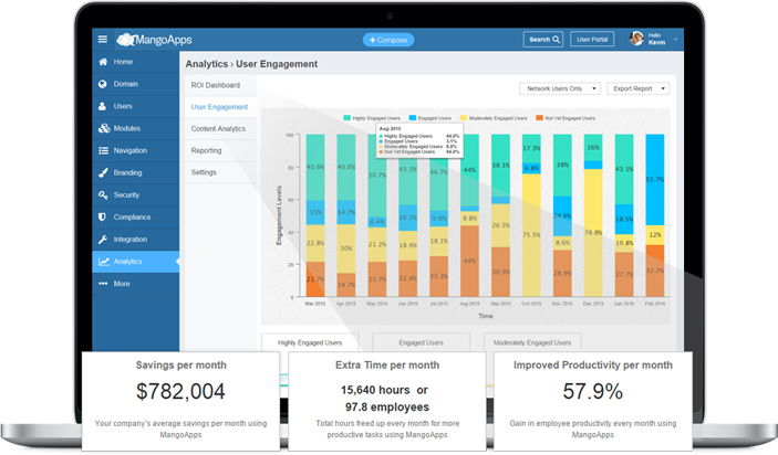 Get the ROI on your MangoApps solutions month-on-month.