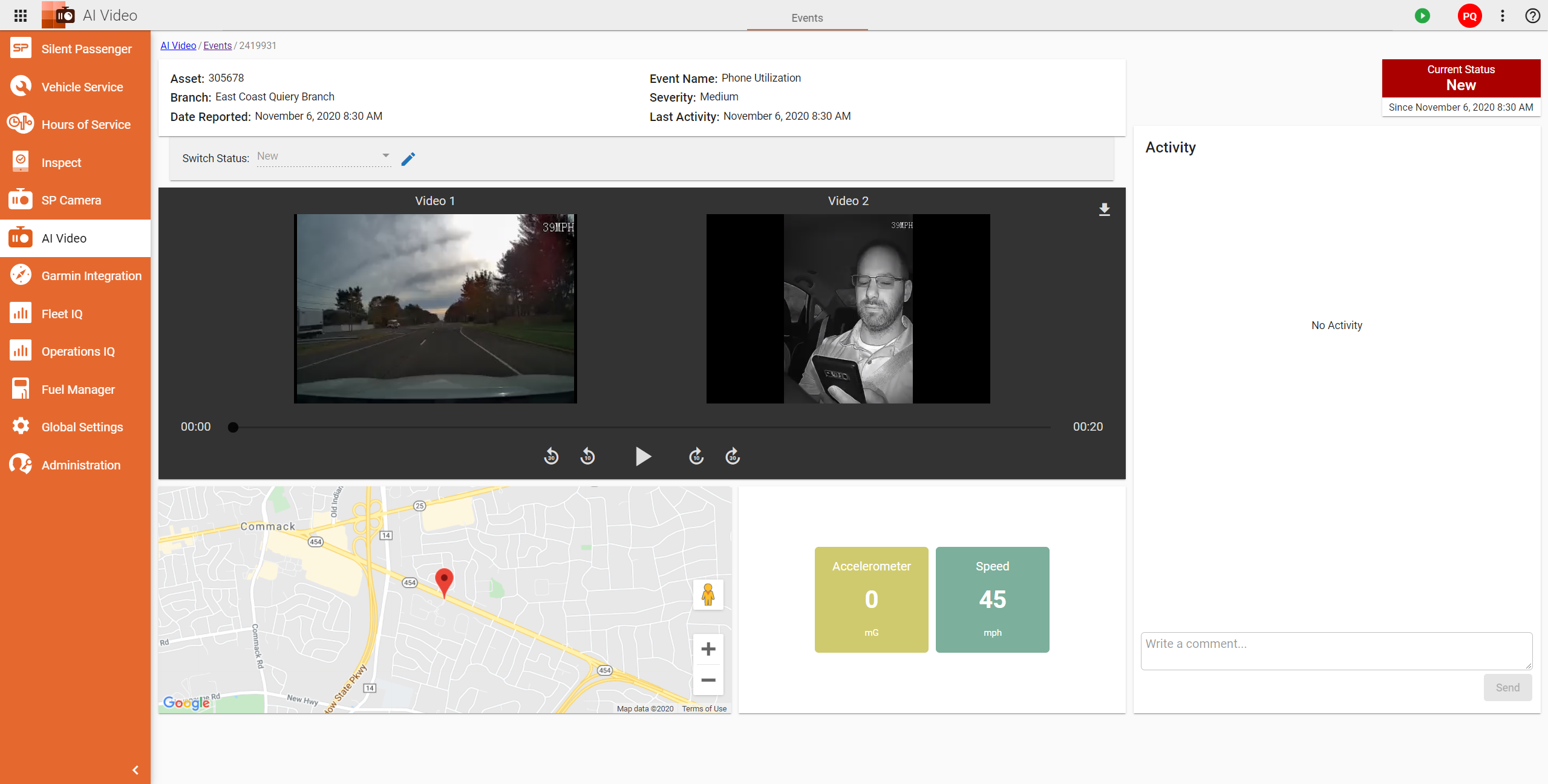 IntelliShift Software - AI Video Dash Cams distracted driver detection %>