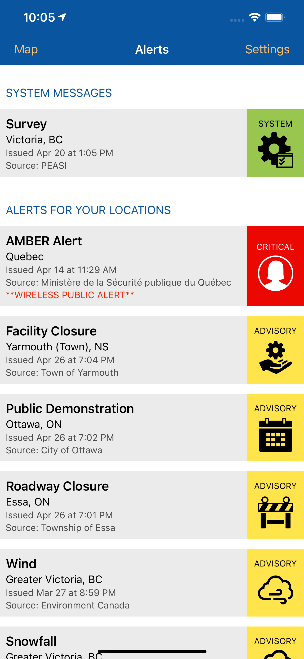 Alertable mobile app showing the range of notifications that can be sent. People can view the notifications they have received in a list or on a map.