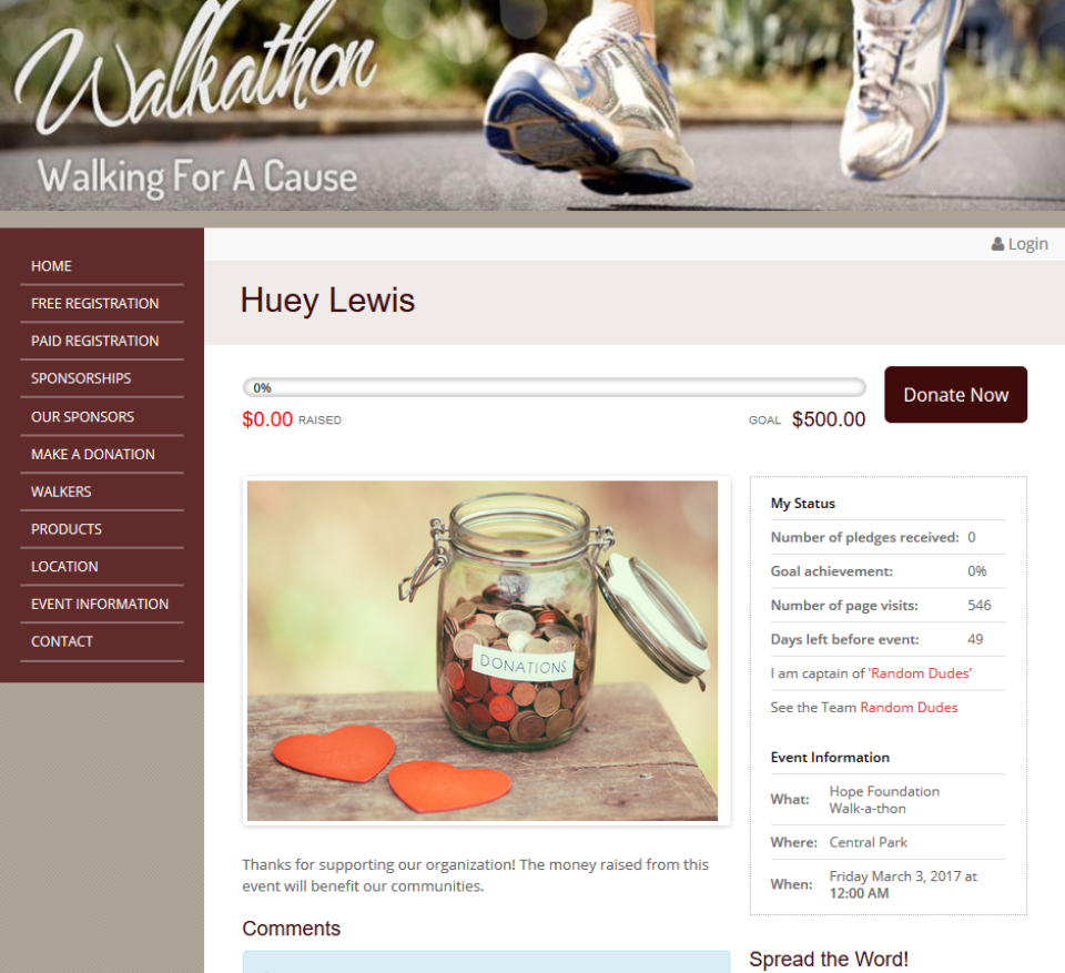 Each participant is given their own customizable fundraising page