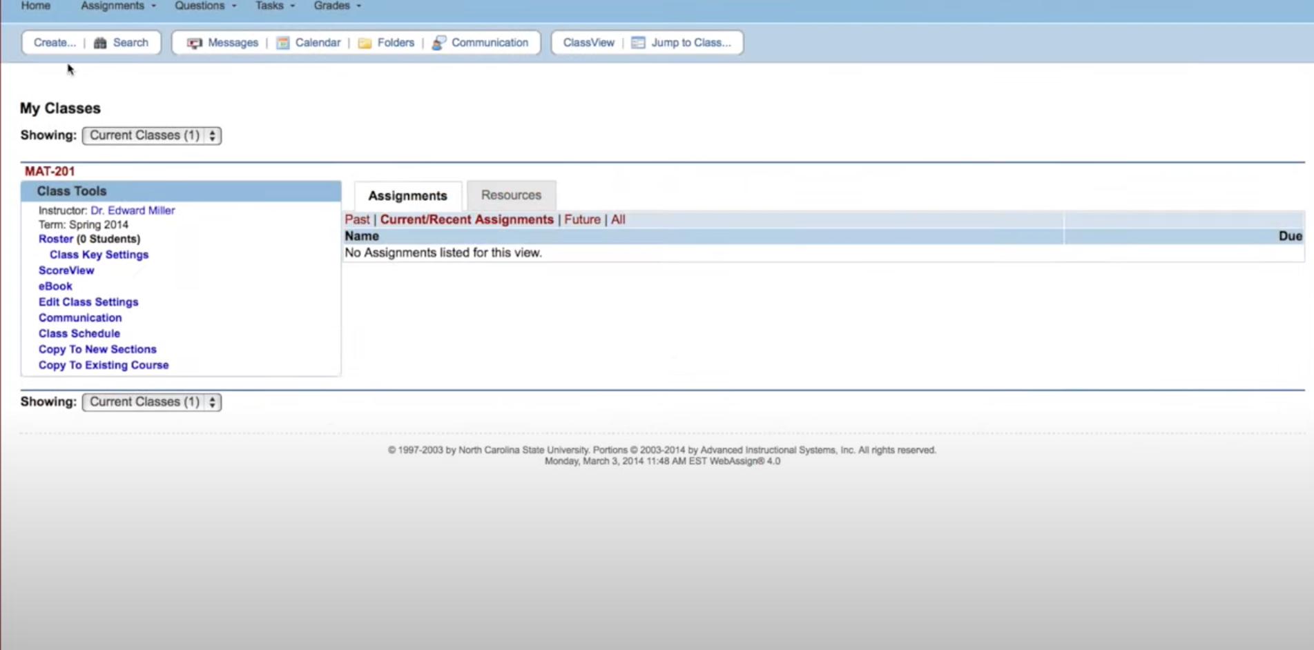 WebAssign instructor dashboard
