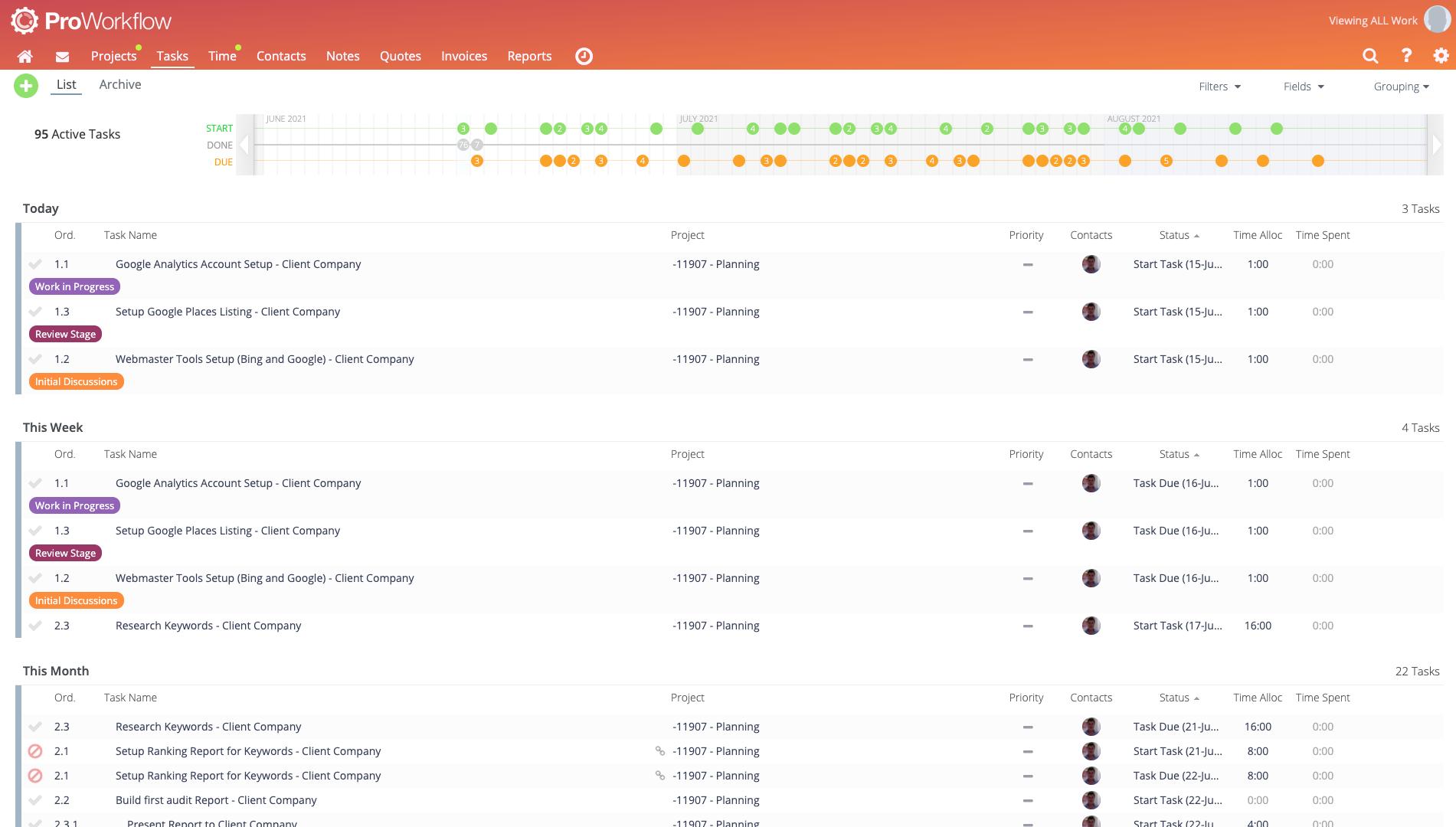 ProWorkflow Software - Upcoming Tasks