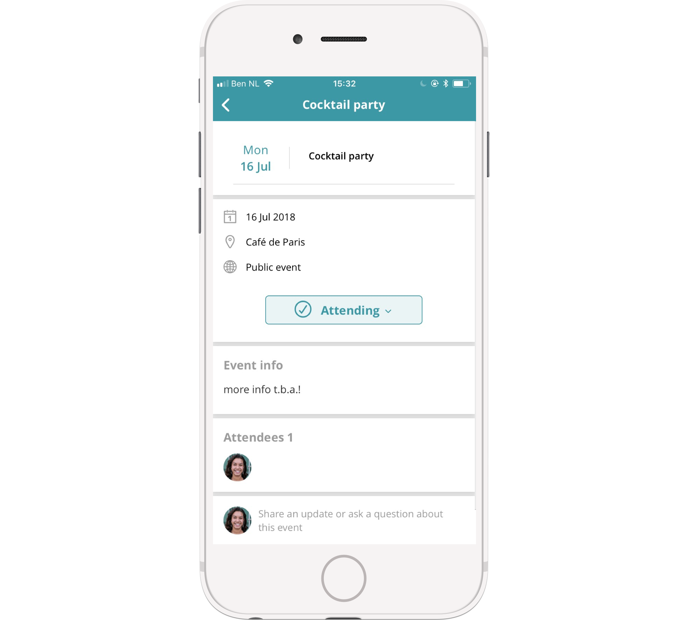 Check your events on the go and let colleagues know if you'll be attending.