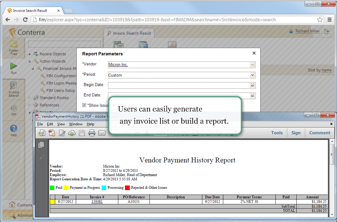 Conterra FIM screenshot: Users can easily generate any invoice list or build a report.