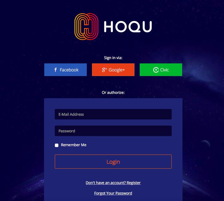 HOQU login page