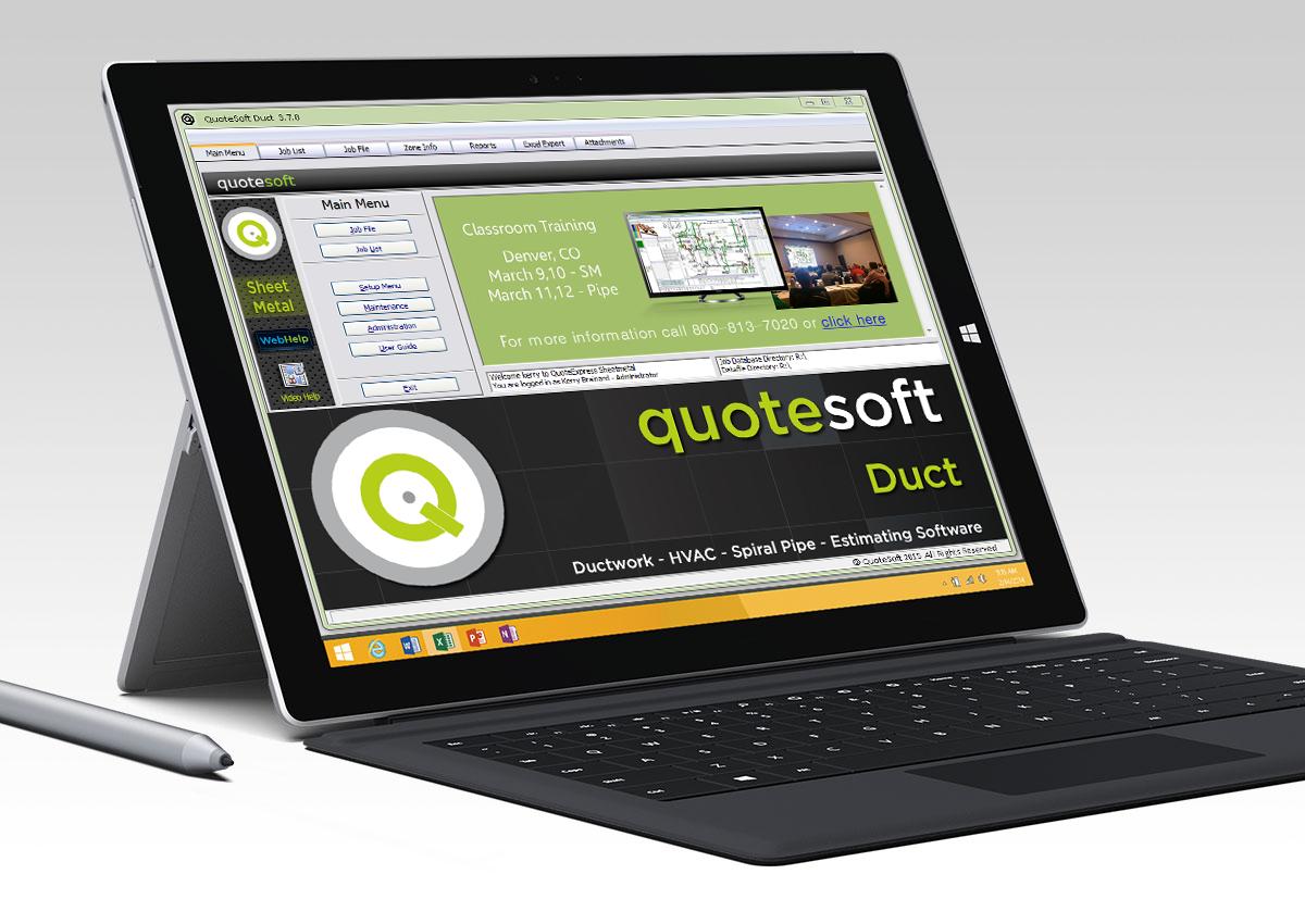 QuoteSoft Software - Main menu