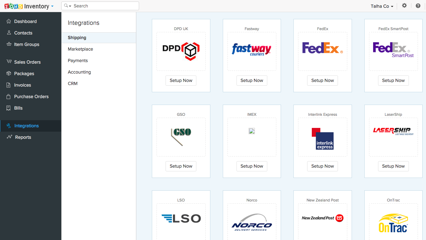 Zoho Inventory Software - Shipping integrations