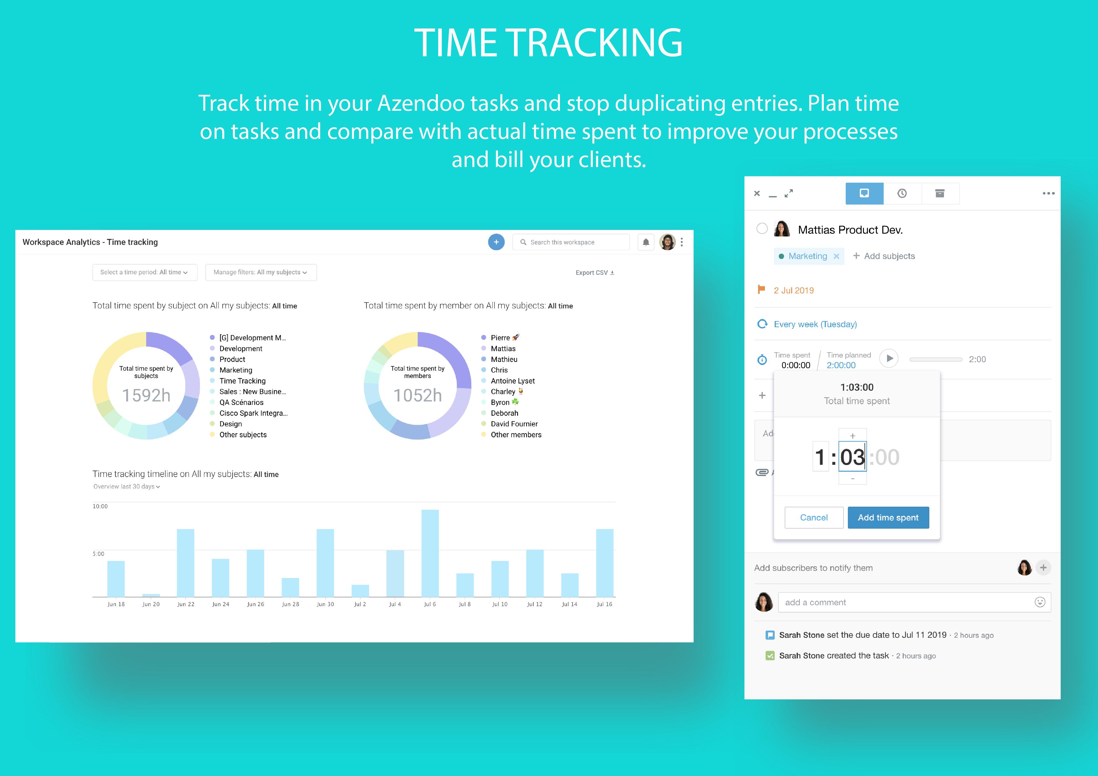 Track Time spent on teamwork and tasks