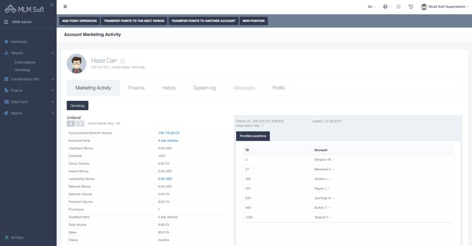 MLM Soft account settings
