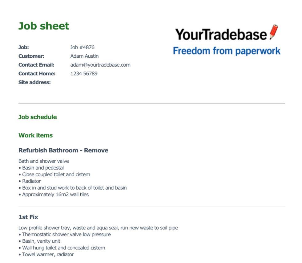 YourTradeBase job sheet