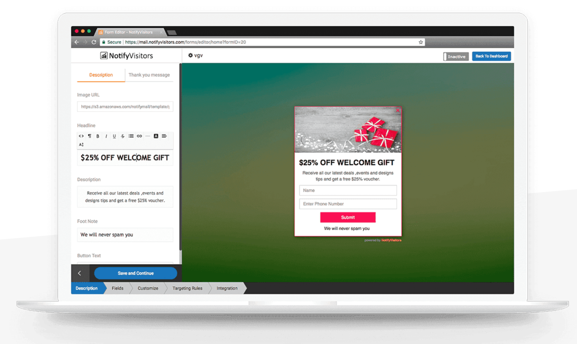 Create a lead form from scratch or choose from one of NotifyVisitors' ready-to-go lead form templates
