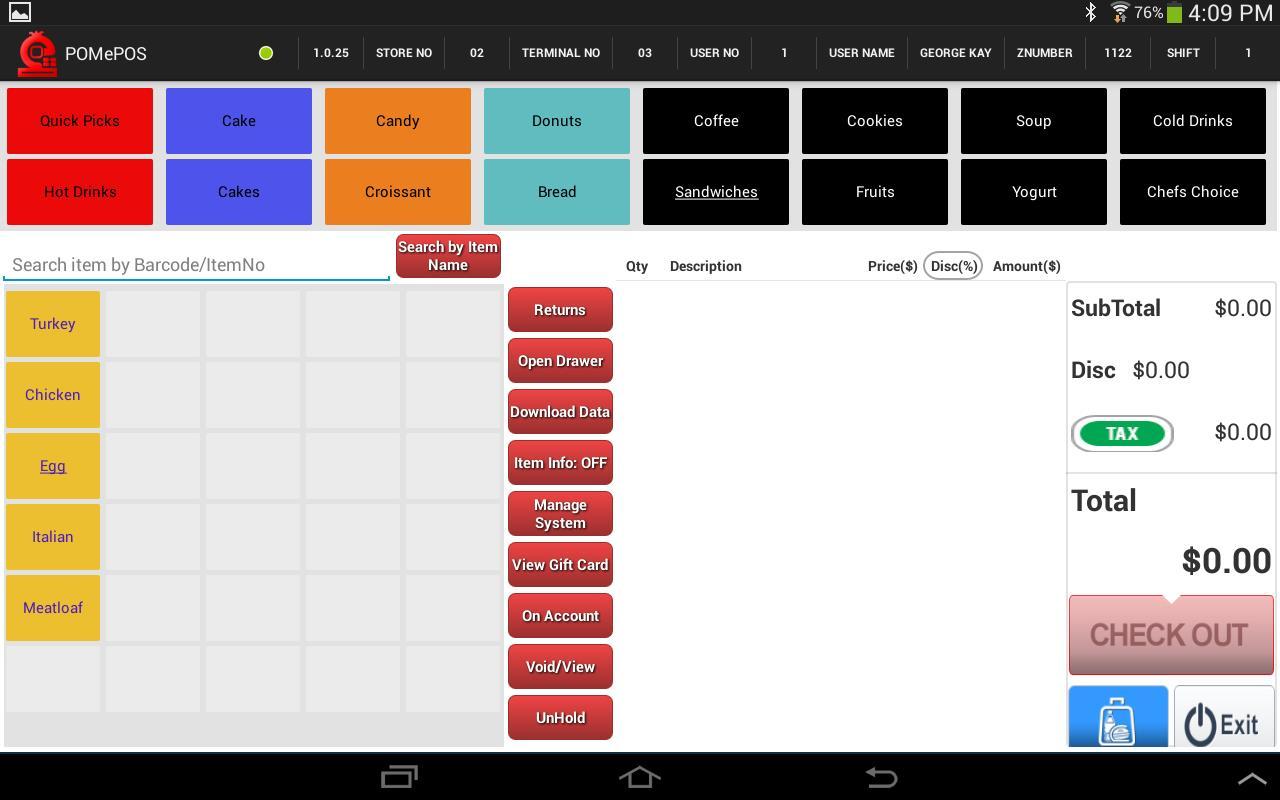 POMePOS Software - Dashboard (sandwich tab)