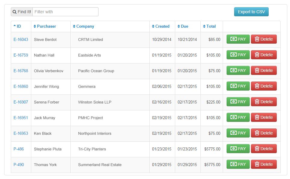 Dash Software - Invoices
