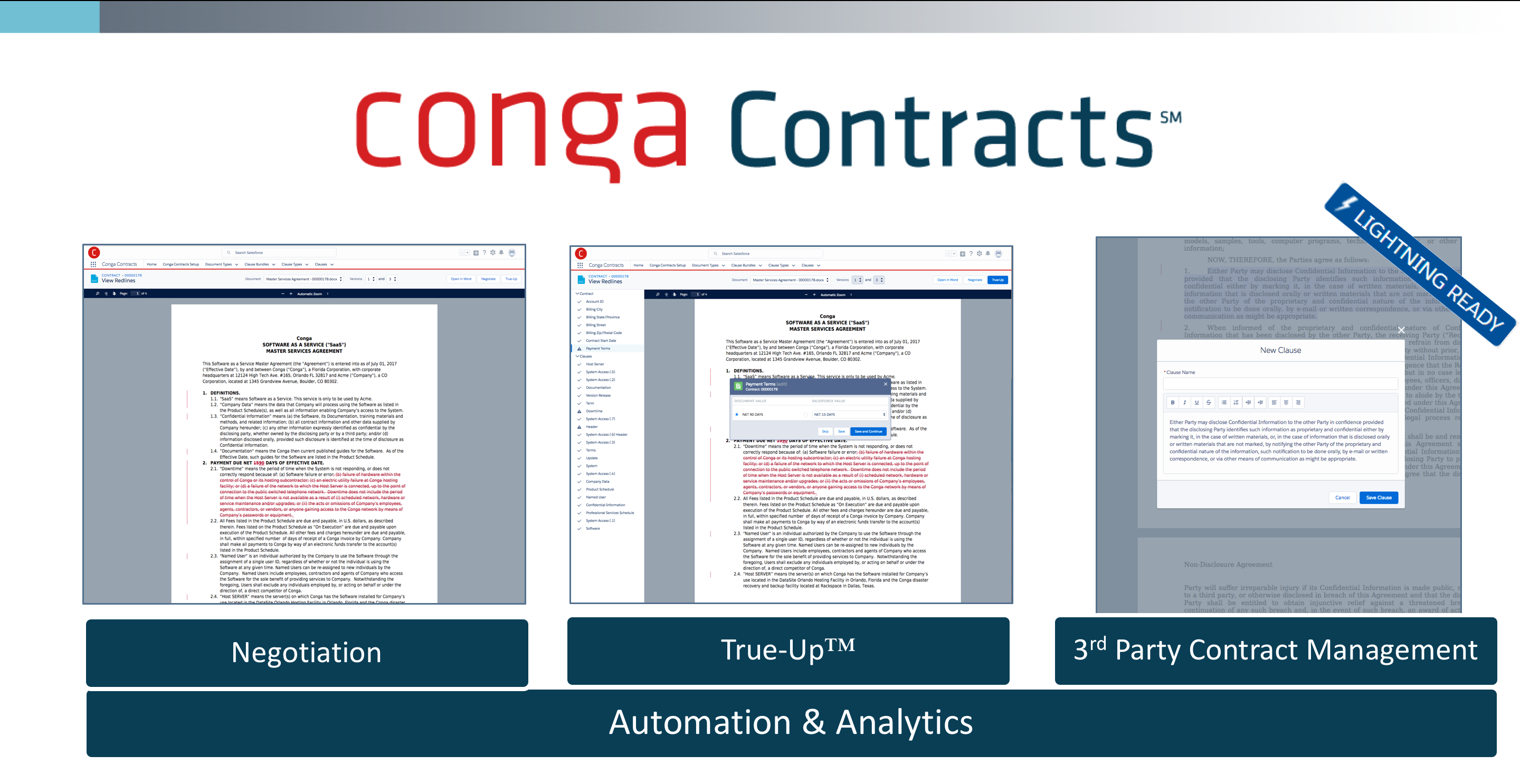 Generate, distribute, and negotiate professional looking contracts such as MSA's and NDA's from the Salesforce platform.