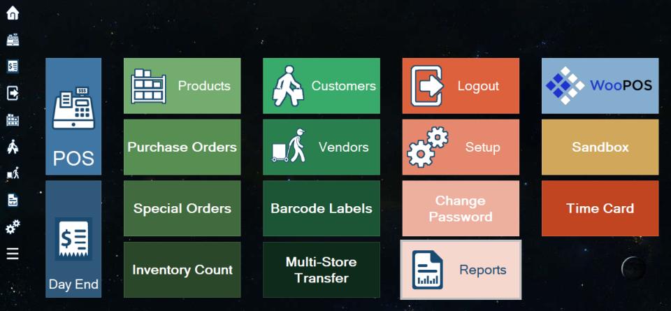 WooPOS Software - woopos main menu