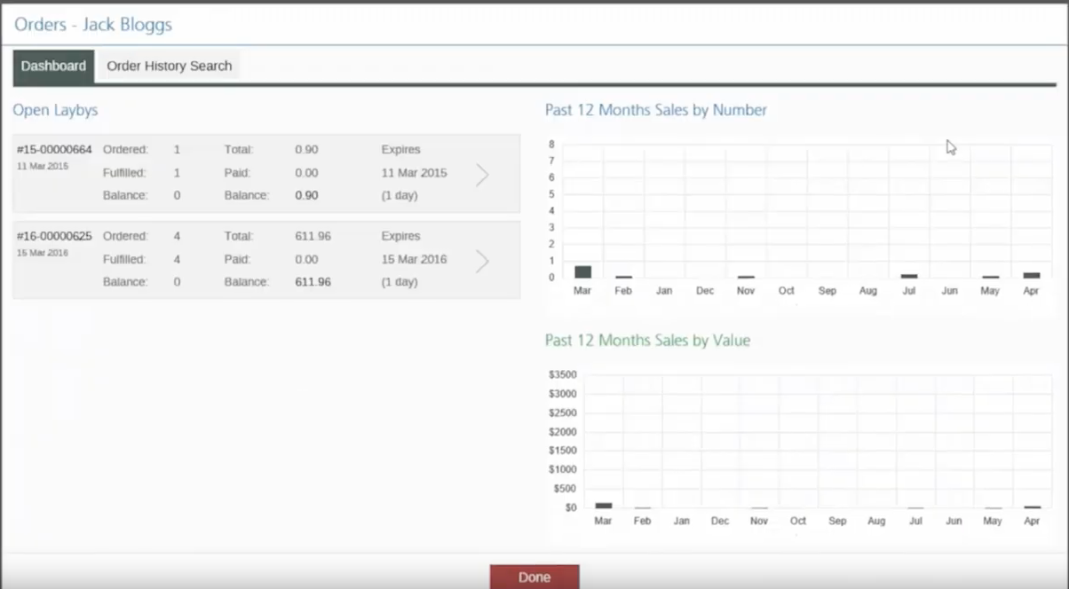 Use the dashboard to gain an overview of customer orders