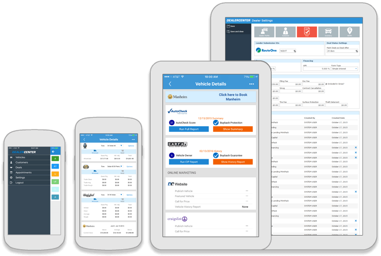 The DealerCenter mobile app for iOS and Android incorporates inventory management and CRM integration, auction tool and the remote updates of deal results