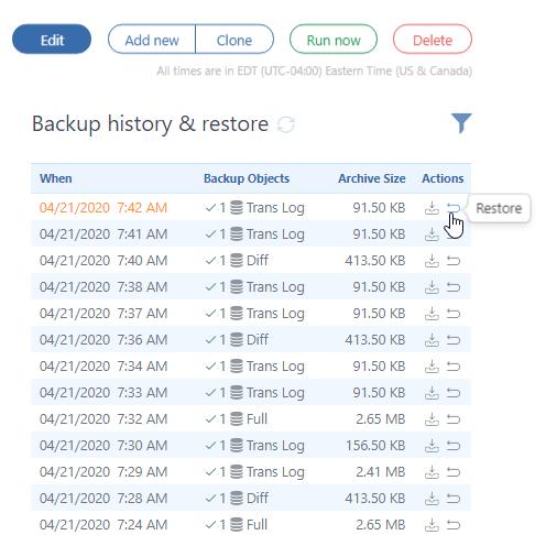 Backup history & restore
