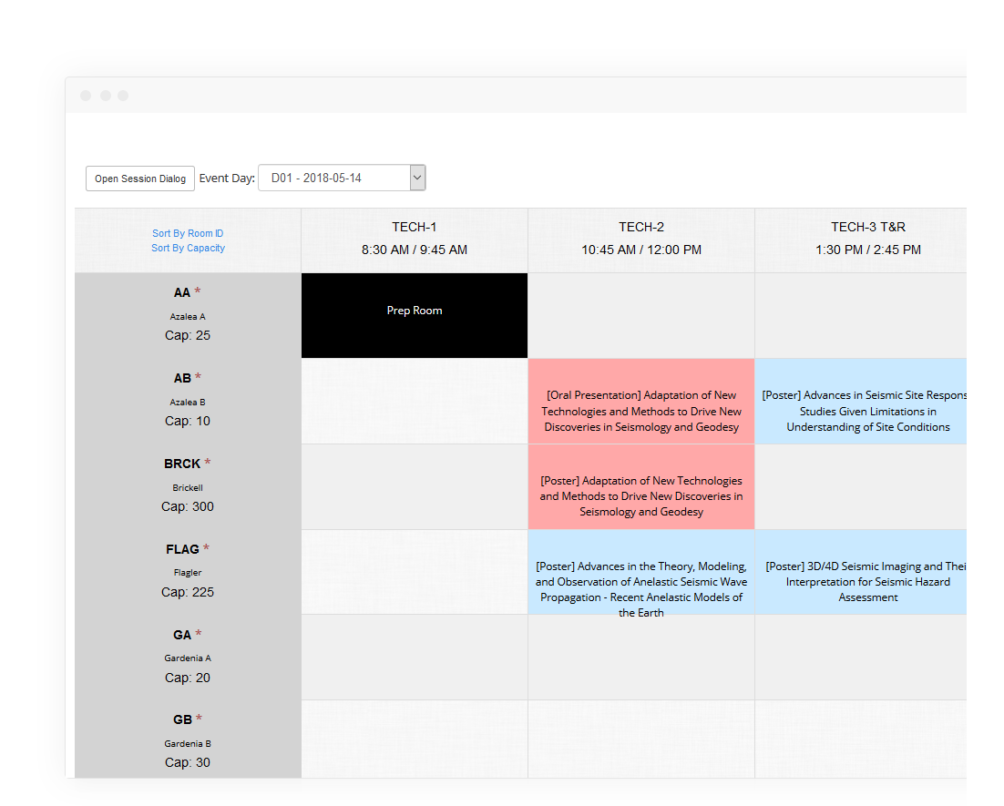 Build schedules and see speaker conflicts right away