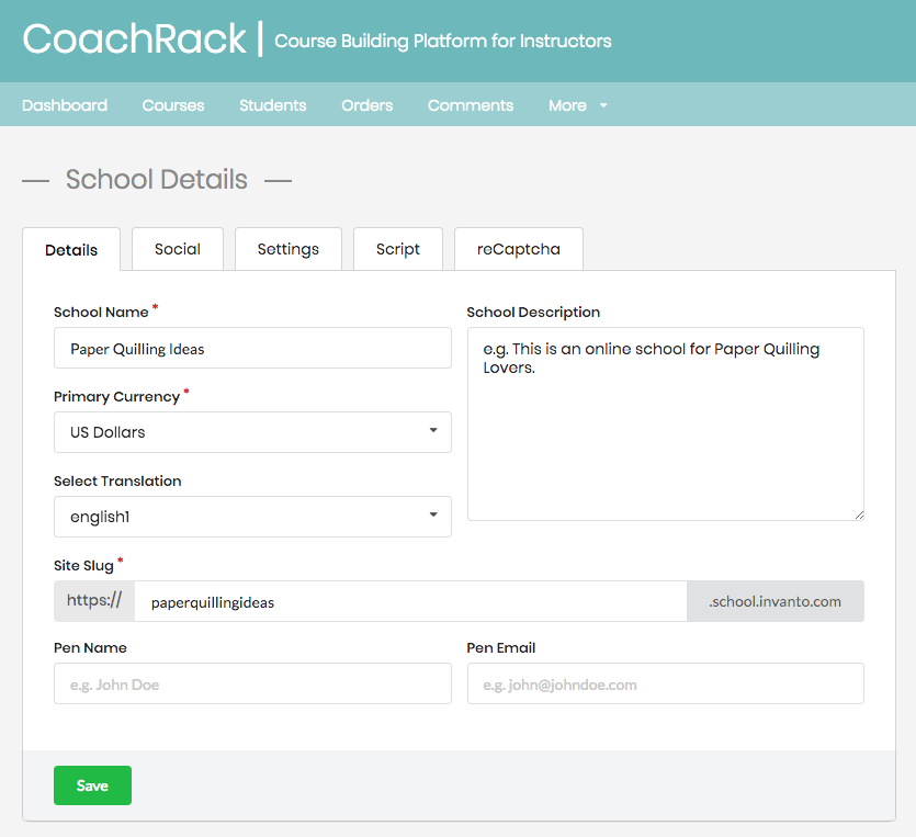 MemberFactory screenshot: Invanto school details