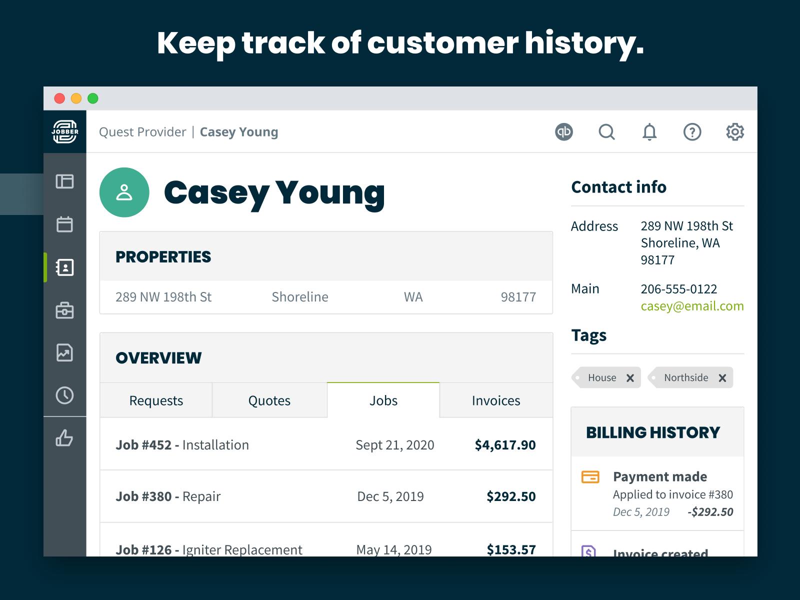 Jobber Software - Track customer history.