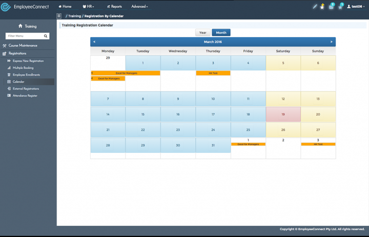 EmployeeConnect training registration calendar
