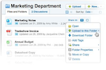 Box screenshot: Upload or download files and folders, then add tags for simple organization