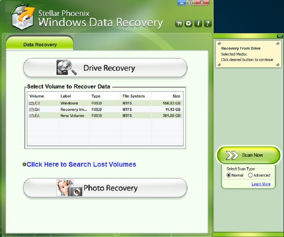 Stellar Data Recovery Professional Software - Select drive