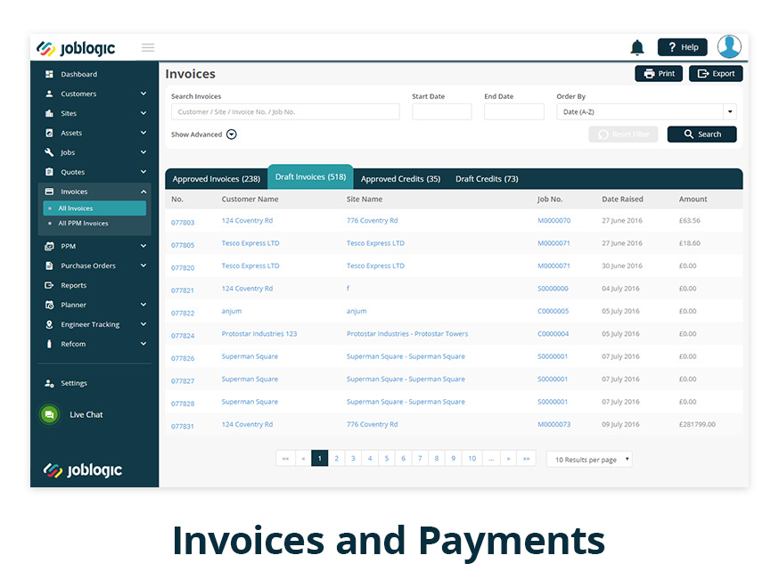 JobLogic Software - Invoices and Payments