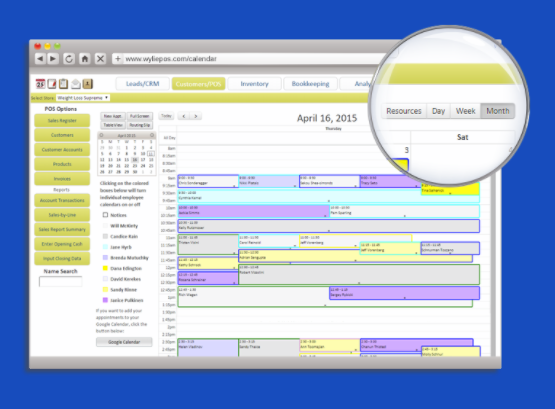 Schedule client appointments using Wylie Business System's appointment calendar