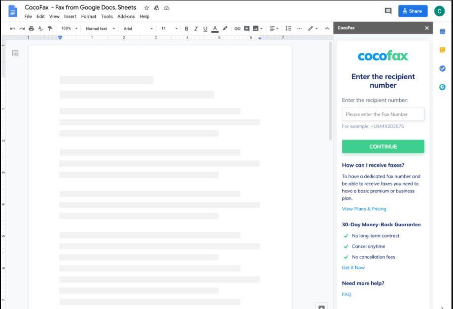 CocoFax fax from Google Doc