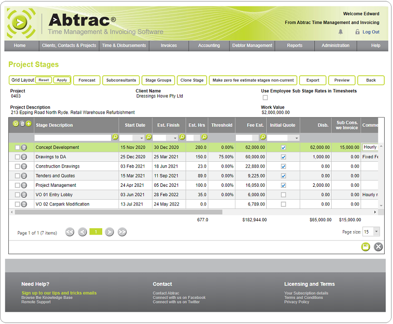 Abtrac Software - Project Planning, tracking tasks and budgets