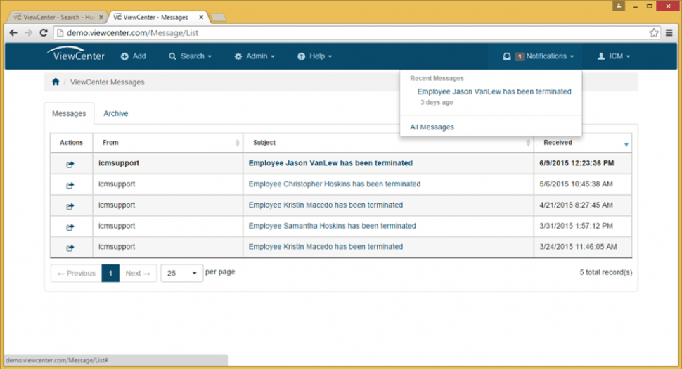 ViewCenter Software - Notifications queue
