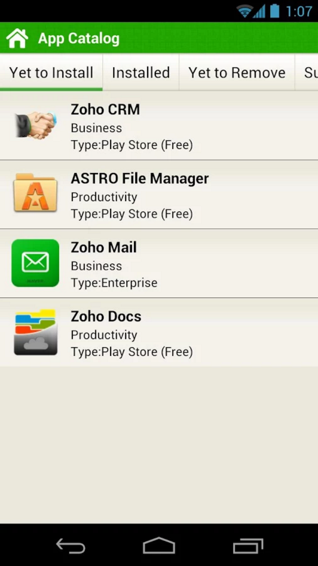 The App Catalog will have the apps that are pushed by the IT admin for the user to download. The user can have them installed on their devices by simply clicking 'install'.