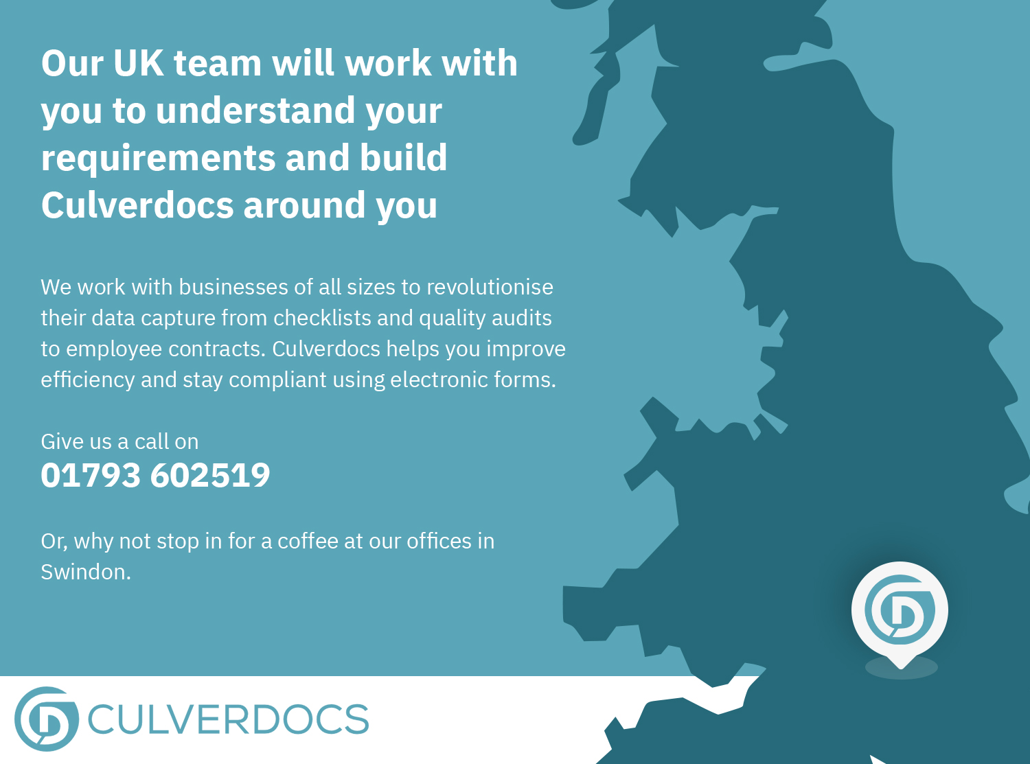 Our UK team will work with you to understand your requirements and build Culverdocs around you