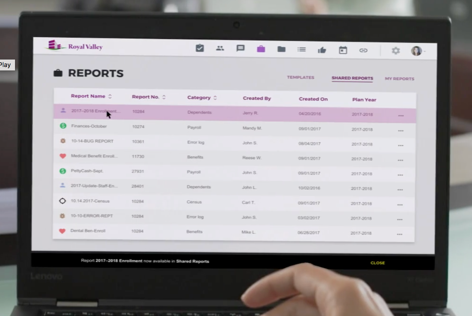 HR teams are able to gain insight into benefit performance with the reporting suite