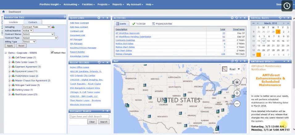 AMTdirect dashboard screenshot
