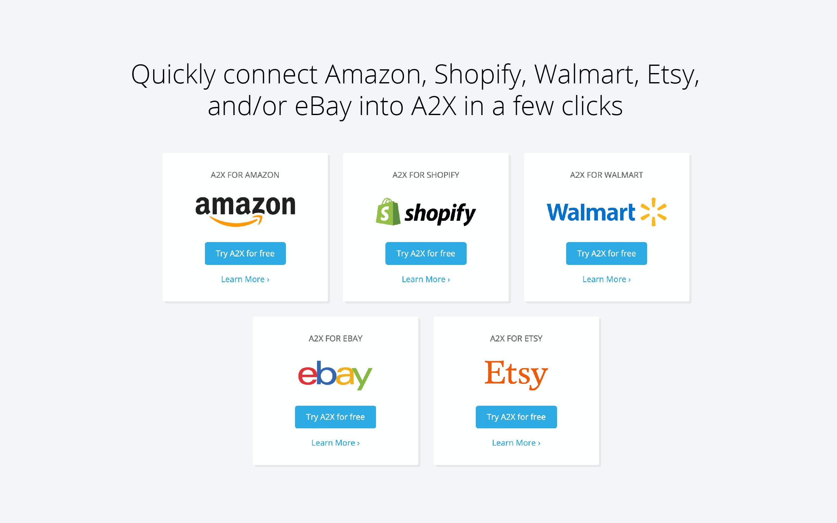 One click connect into your favourite ecommerce platforms